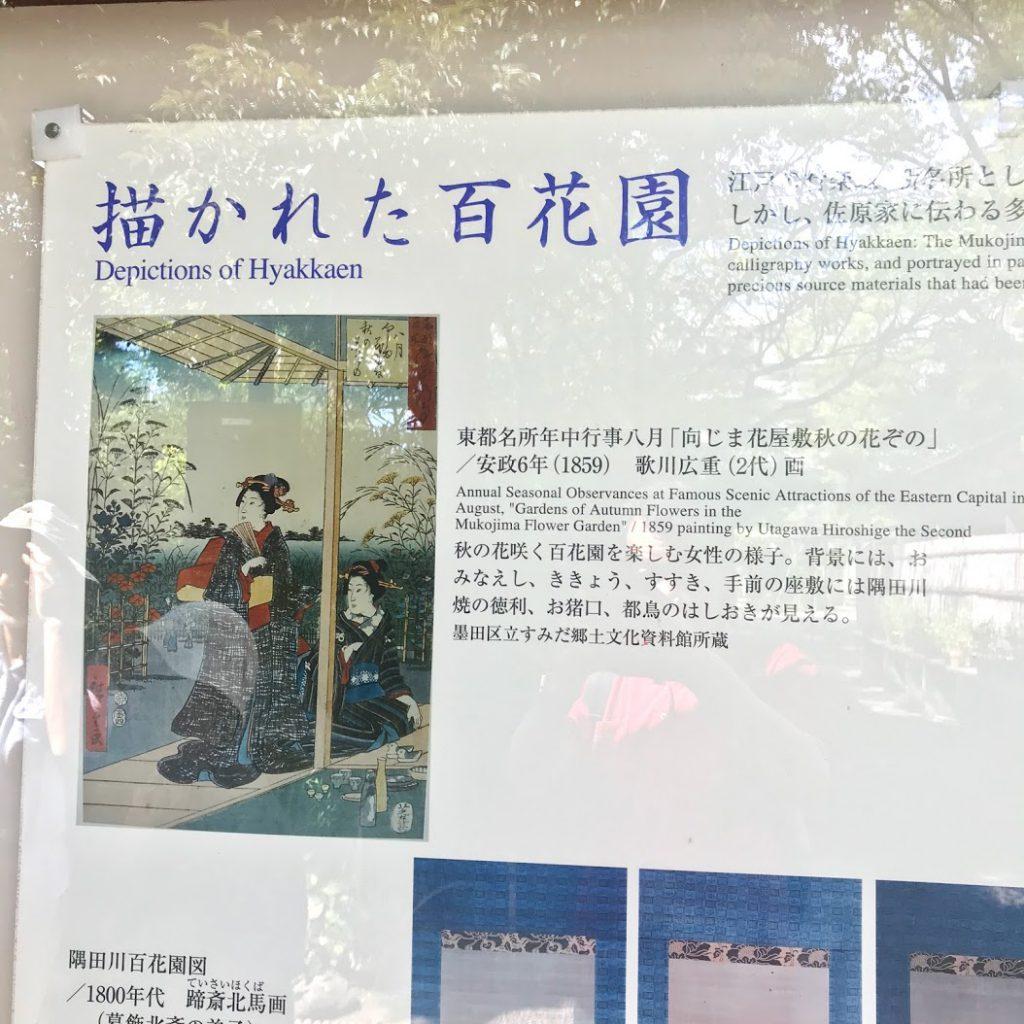 向島百花園は歌川広重の浮世絵にも描かれていた。