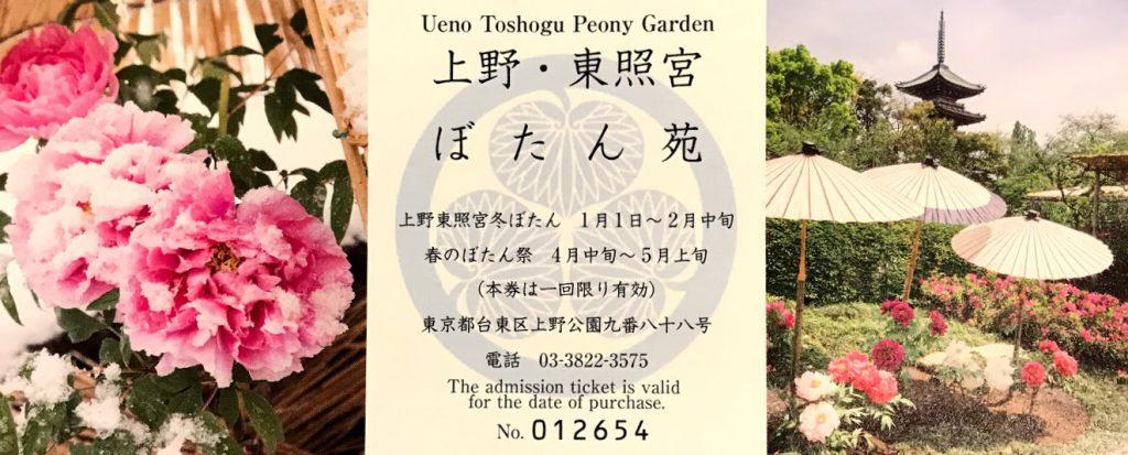 上野東照宮ぼたん苑の入場券