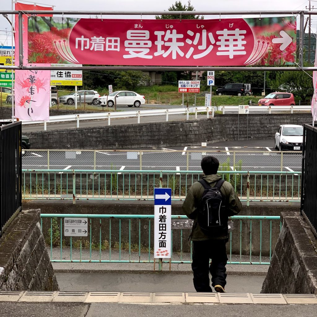 高麗駅の巾着田の曼珠沙華看板